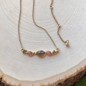 NEW Anthropologie Stone Arch Gold Dainty Necklace